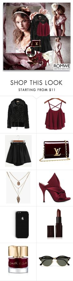 """Romwe -BloodRose"" by shinee-pearly ❤ liked on Polyvore featuring Marni, Louis Vuitton, N°21, Laura Mercier, Smith & Cult and Ray-Ban"