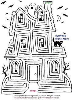 Spooky Halloween Haunted House Maze To Print Out And Color More Fun At