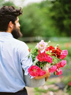Flower Farm Foraging: Pink + Red Peony Poppies. Adam Rico, Bows + Arrows Flowers. Ryan Ray Photography.