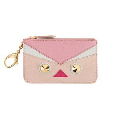 Best Gifts Under $500: QUTWEET KEY CASE | FENDI - Dusty pink Qutweet key case featuring multicolored inserts, two conical studs, leather zipper pull and spring clip.