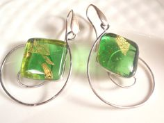 Large spirals earrings green glass and silver by LaTerraCanta NEW!!!