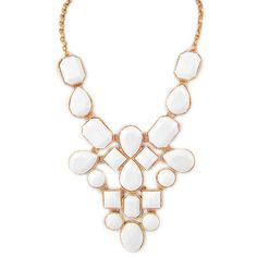 White Jewel Statement Necklace ($32) ❤ liked on Polyvore