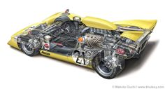 1969 Nissan R382 Grand Prix                    cutaway by Makoto Ouchi