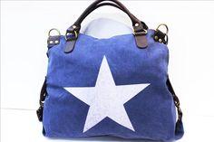 Taschen : VERA PELLE Sterntasche aus Canvas mit Echtleder