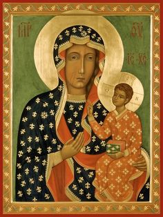 "Mother of God ""Chestohova"" orthodox icon Madonna Art, Madonna And Child, Our Lady Of Czestochowa, Black Jesus, Artwork For Home, Russian Icons, Russian Orthodox, Byzantine Icons, Orthodox Icons"