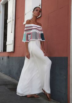 white maxi dress with crocheted mutli top