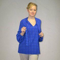 Silk bow tie blouse.Women Blouse. 46INPOI #plussize #fashion #uebergroessen #silk #seide #blusen #blouses #madeinitaly #polkadots
