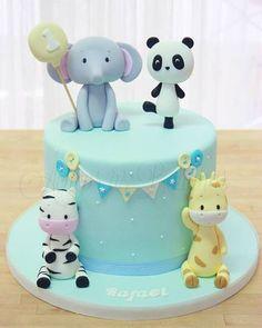 21768353_1705119546196201_5271083402072611074_n.jp Baby Cakes, Baby Shower Cakes, Girl Cakes, Safari Birthday Cakes, Boys First Birthday Cake, Cakes Without Fondant, Bolo Panda, Cake Designs For Boy, Panda Cakes