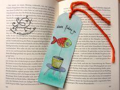 Papier & Pappe - Fisch im Blumentopf Lesezeichen Original Aquarell - ein Designerstück von silvanillion bei DaWanda