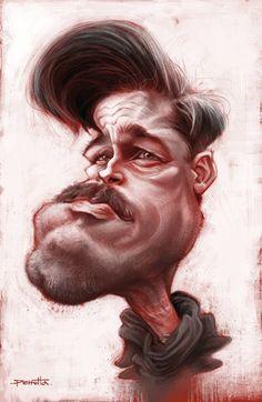 "Caricaturas de Famosos: ""Brad Pitt"" por Mario Perrotta"