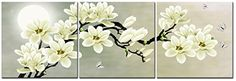 Natural art – White Magnolia & Butterfly Under the Moon M...