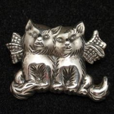 Kittens with Bows Pin Vintage Sterling Silver Beau