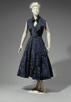 Cocktail Dress, Cristóbal Balenciaga (Spanish (active in France) 1895–1972): 1949, French,  silk moiré taffeta.