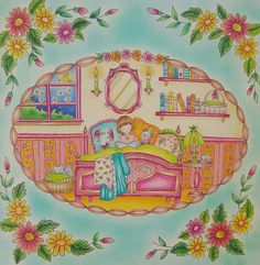 Toujours mon petit monde de douceur de romantic country .... Romantic country 1 de Eriy polychromos, prismacolors, stylos gels paillettes, Posca blanc et pastels secs
