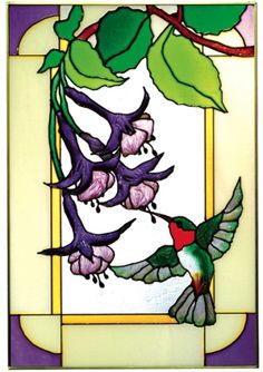 Hummingbird Fuchsia Flowers Vertical Stained Art Glass Panel