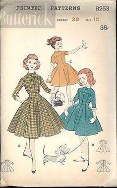 50s Butterick Pattern 8253 Girls' Empire Dress