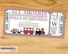 All Aboard Train Ticket Party Invitation  by PaperclutchShop, $12.00