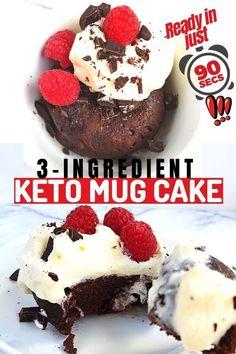 Keto Dessert Recipes 3 ingredients Keto Friendly Chocolate, Low Carb Chocolate, Quick Keto Dessert, Easy Desserts, Dessert Recipes, 3 Ingredient Mug Cake, Cakes Today, Keto Mug Cake, Low Carb Recipes