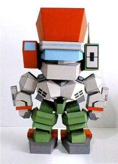 A Cute Robot Paper Model Free Template Download - http://www.papercraftsquare.com/cute-robot-paper-model-free-template-download.html#Robot