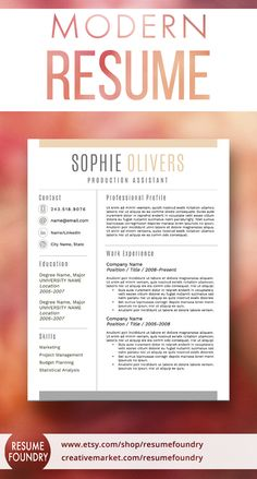 Beautiful resume template with cover letter and reference template included. Resume Skills, Job Resume, Resume Tips, Cv Tips, Resume Review, Resume Writing Examples, Writing Tips, Modern Resume Template, Resume Template Free