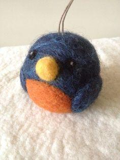 Blue Bird Christmas Ornament  wool felt  small by WoolyDoodles4u