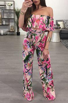Women Pink Floral Printed Off Shoulder Tie Waist Sexy Wide Leg Jumpsuit - XL Sit Still Look Pretty, How To Look Pretty, Crop Top Elegante, Off Shoulder Jumpsuit, Punk, Floral Jumpsuit, Sporty Outfits, Feminine Style, Jumpsuits For Women