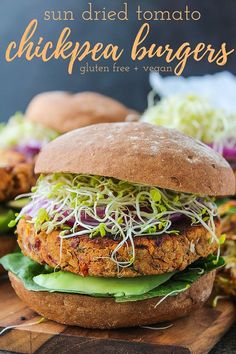 Dried Tomato Chickpea Burgers Gluten free & vegan chickpea burgers made with fresh basil, sun dried tomatoes, and ground almonds.Gluten free & vegan chickpea burgers made with fresh basil, sun dried tomatoes, and ground almonds. Vegan Dinner Recipes, Vegan Dinners, Vegetarian Recipes, Cooking Recipes, Healthy Recipes, Vegetarian Cooking, Free Recipes, Clean Eating Vegetarian, Picnic Recipes
