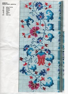 This Pin was discovered by Neş Just Cross Stitch, Cross Stitch Borders, Cross Stitch Samplers, Cross Stitch Flowers, Cross Stitch Charts, Cross Stitch Designs, Cross Stitching, Cross Stitch Embroidery, Hand Embroidery