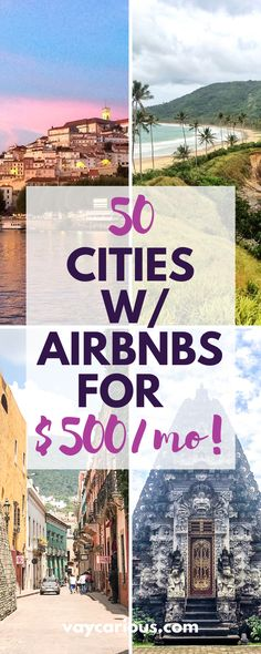 50 cities w/ Airbnbs for $500/month. If you're taking a career break to travel or if you work remotely as a digital nomad, these 50 cities have monthly vacation rentals on a budget. Tips for solo female travelers / couples and family travel. These are bucket list travel destinations all over the world, from Bali to Marrakesh to Istanbul to Oaxaca and Mexico City. Full-time travel , longterm travel, adult gap year travel. Road Trip On A Budget, Road Trip Hacks, Travel Deals, Travel Tips, Budget Travel, Travel Destinations, Travel Guides, Travel For A Year, Time Travel