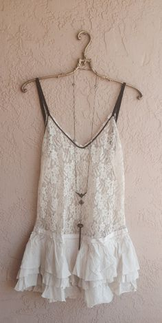 Amazing Ruffle slip with lace top and black ribbon by BohoAngels, $190.00