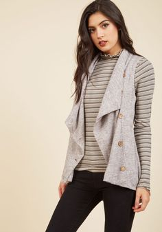 Linger for the Afternoon Vest in Smoke. Grab your journal, camp out in your favorite spot, and ensure your stay is extra nice by buttoning this pocketed grey vest on your frame! #grey #modcloth