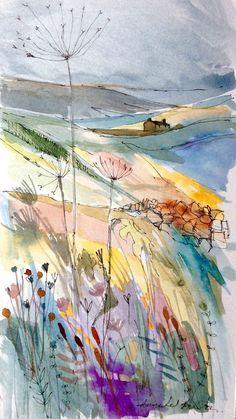Original Watercolour landscape Painting- Hill Top Farm- by Annabel Burton