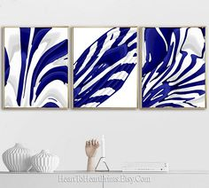 Navy Abstract Set of 3 Prints Navy Blue Abstract Painting Printable Artwork Navy Blue Wall Art Downloadable Print Contemporary Printable Art