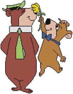 Cross Stitch Pattern COLOR Old Cartoon Yogi Bear BooBoo Flower Straw Hat Tie