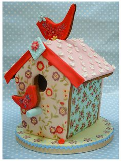 hand painted fondant covered gingerbread birdhouse.....