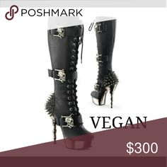 Vegan boot Nice leather spikey boot lots of features. One of a kind. Get noticed very unique in style. Many sizes available. Shoes Lace Up Boots