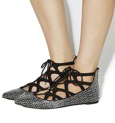 Office Vibrant Lace Up Flats Black White Snake Black - Flats