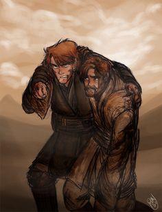 This shows the true brother like relationship between Anakin and Obi Wan Anakin Vs Obi Wan, Anakin And Padme, Star Wars Clone Wars, Star Wars Rebels, Star Trek, Star Wars Brasil, Starwars, Alec Guinness, Star Wars Personajes