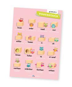 Educatieve poster, voorzetsels Marketing Software, Affiliate Marketing, Primary School, Child Development, Art Education, Grammar, How To Make Money, Teacher, Holland
