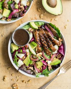 Walnut, Avocado, Pear, Portobello and Greens Salad - with apple or pear; recipe from The Oh She Glows Cookbook