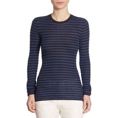 Vince Striped Cashmere Sweater ($265) ❤ liked on Polyvore featuring tops, sweaters, blue striped sweater, pullover sweater, long sleeve pullover sweater, striped crew neck sweater and crew-neck sweaters