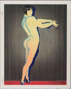 Woodblock print by Ishikawa Toraji - first drafted and printed in 1934 Japanese Prints, Japanese Art, Taisho Era, 1920s Art Deco, Heart Art, Woodblock Print, Eye Candy, Ishikawa, Illustration