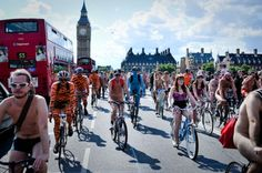 The World Naked Bike Ride takes place in more than 50 cities. Naked cyclists protest against car culture and raise awareness on safety measures. Would you take part in such a ride?