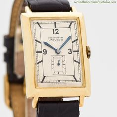 1940's Vintage Movado Chronometre 18K Yellow Gold Watch