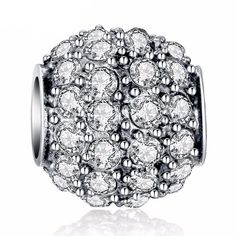 Round Sparkling Bead Charm - Silver Plated