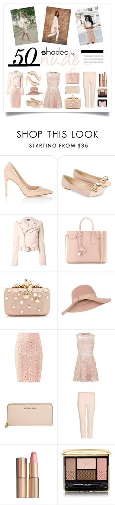 """""""50 Shades of Nude"""" by genesislara ❤ liked on Polyvore featuring Valentino, French Connection, Monsoon, Alexander McQueen, Yves Saint Laurent, Elie Saab, Accessorize, Topshop, Michael Kors and Charlotte Tilbury"""