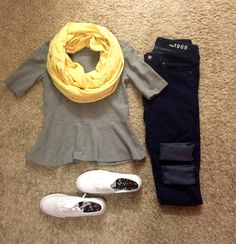 Cheetah jeans and my new Gap peplum tee and scarf!!