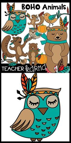 BOHO Animals Clipart.  These owls, squirrels, bears, birds and MORE are perfect for classroom teachers and TpT sellers.  Commercial use graphics.  http://TeacherKARMA.com
