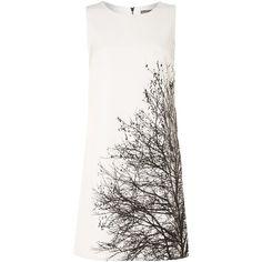 Vince Camuto SL Tree Design Shift Dress (€57) ❤ liked on Polyvore featuring dresses, vestidos, short dresses, cream, clearance, white dress, cream shift dress, print dress, white sleeveless dress and short sleeveless dress