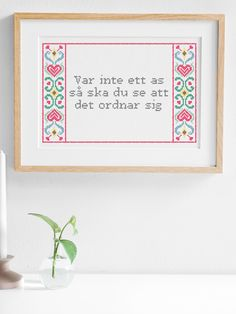 Create your own cross stitch embroidery with your own text using our inspiring patterns. Decorate your home with a unique and personal cross stitch design. Embroidery Kits, Cross Stitch Embroidery, Cross Stitch Designs, Cross Stitch Patterns, Textiles, Diy And Crafts, Lettering, Crafty, Words